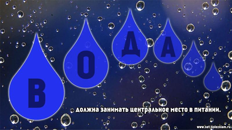 Вода должна занимать центральное место в питании.